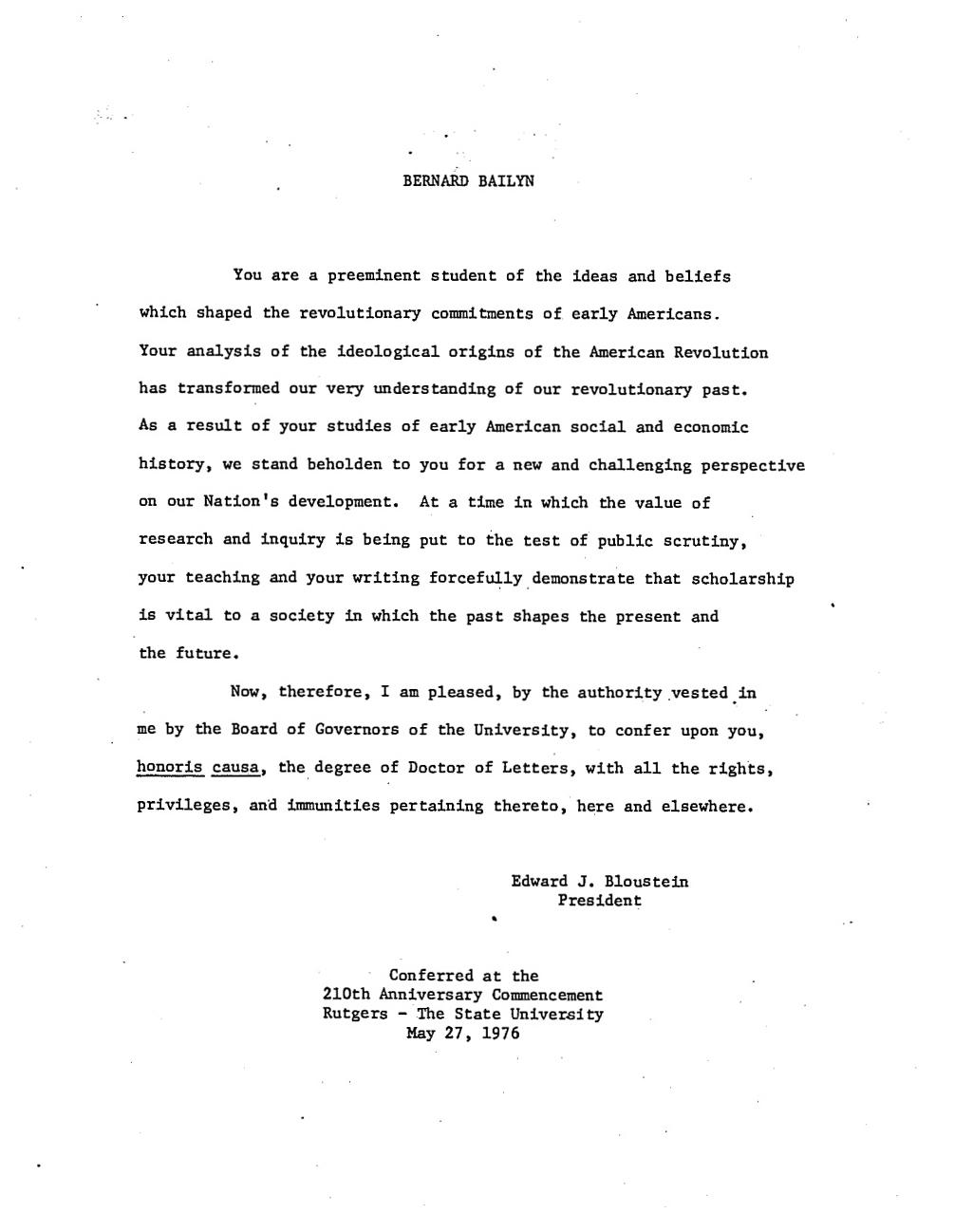 bailyn. Baker, Russell Wayne, 1989, Doctor of Letters